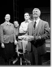 Photo of Heather Day (Megan), Jenny MacDonald (Cecily), Todd Webster (Bill), and Frederic J. Lewis (Frank)