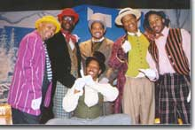 Photo of the cast, from left to right Vincent C. Robinson, Kw. Brock Johnson, Jeffrey Nickelson, Timothy C. Johnson, Qatis Tarkington, and front row center, Jimmy Walker