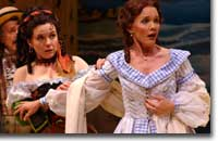 Photo of Corliss Preston as Zerbinetta and Elizabeth Rainer as Hyacinth