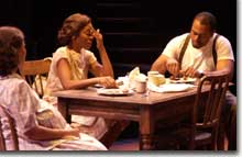 Photo of (L to R) January LaVoy as Stella, Kim Staunton as Blanche DuBois and Terrence Riggins as Stanley