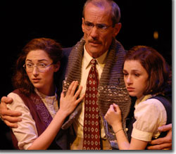 (Left to right) Danielle Slavick as Margot Frank, John Hutton as Mr. Frank, and Aya Cash as Anne Frank