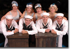 Photo of Top row L to R, Mary McGroary as Purity, Christianna Sullins as Charity, Christine Paterson as Virtue, Megan Delay as Chastity.  Bottom row L to R, Troy Rintalla, Joey Kovach, Robert Hoppe, Rob Costigan as sailors