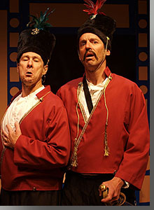 Left to right, Leroy Leonard as Petkoff and Michael Gunst as Sergius
