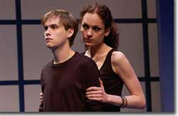 Photo of Tobias Segal as Justin Hammond and Ruth Eglsaer as Julie Bell