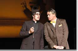 Photo of Christopher Feigum as Don Basilio and Dale Travis as Doctor Bartolo