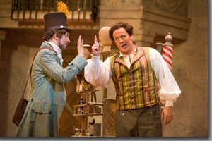 (Left to right) Brian Stucki as Count Almaviva and Lucas Meachem as Figaro