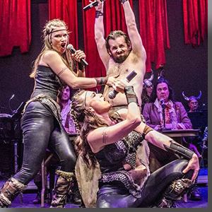 Joe Von Bokern as Beowulf, with his warriors, Allison Caw (left) and Amanda Berg Wilson (front)
