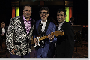 (Left to right) Brian Murray<br>as J.P. Richardson (The Big Bopper), Brett Ambler as Buddy Holly, and Alejandro Roldan as Richie Valens