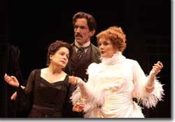 Photo of Monique Fowler as Eleonora Duse, John Hutton as Flavio Andò and Beverly Leech as Sarah Bernhardt