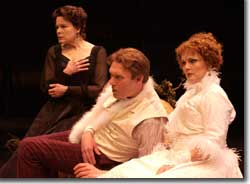 Photo of Monique Fowler as Eleonora Duse, Bill Christ as Gustave-Hippolite Worms and Beverly Leech as Sarah Bernhardt