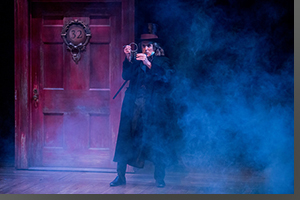 Sam Gregory as Ebenezer Scrooge, moments before the Ghost of Jacob Marley appears