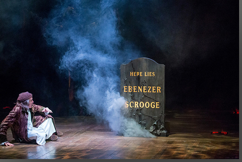 Sam Gregory as Ebenezer Scrooge confronting his mortality