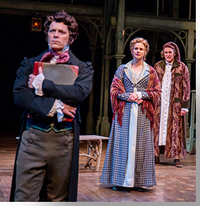 Jim Poulos as Ebenezer the Young Man, Hanley Smith as Belle, and Sam Gregory as Ebenezer Scrooge