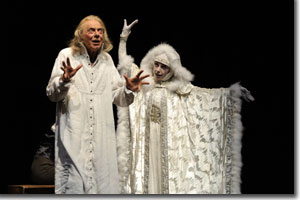 Philip Pleasants as Ebenezer Scrooge and Stephanie Cozart as Ghost of Christmas Past