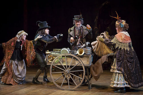 (Left to right) Stephanie Cozart as The Charwoman, Douglas Harmsen as The Undertaker's Man, John Hutton as Old Joe, and Kathleen M. Brady as The Laundress