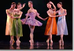 Photo of Chandra Kuykendall (center) as the fairy godmother, with the faeries of the four seasons