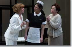 Photo of (L to R) Caitlin O'Connell as Lane, Romi Dias as Matilde and Charlotte Booker as Virginia
