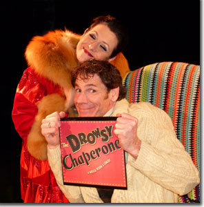 Alicia Dunfee as The Drowsy Chaperone and Brian Norber as the Man in Chair