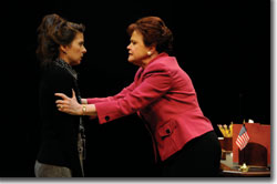 (Left to right) Jeanine Serralles as Karen and Charlotte Booker as Marianne