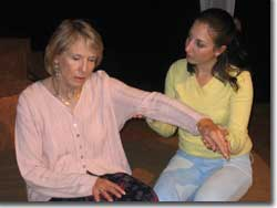 Photo of (L to R) Patty Mintz Figel as Dorothea and Jessica Posner as Echo