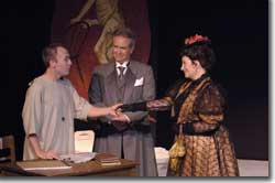 Photo of Stetson Weddle and Joseph Merrick, Robert M. Reid as Dr. Frederick Treves, and Wendy Ishii as Mrs. Kendall