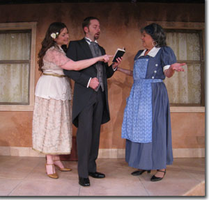 Haley Johnson as Lottie, Christian Mast as Mellersh, and Linda Suttle as Costanza