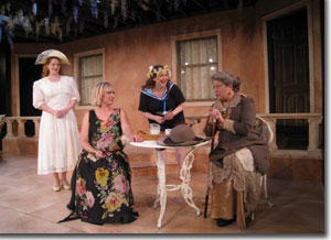 (Left to right) Leslie Randle Chapman as Rose, Kendra Crain McGovern as Lady Caroline, Haley Johnson as Lottie, and Paige Lynn Larson as Mrs. Graves