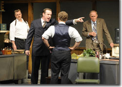 (Left to right) Chris Hietikko as Baylen, Ian Merrill Peakes as Richard Roma, Vince Nappo as John Williamson, and Mike Hartman as Shelly Levene