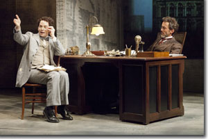 (Left to right) Larry Paulsen as Morris and John Hutton as Joseph Pulitzer