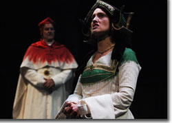 Left to Right: Julian López-Morillas as Cardinal Wolsey and Mare Trevathan as Queen Katherine