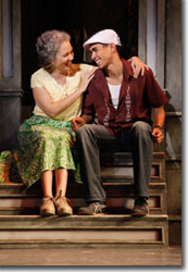 Elise Santora as Abuela Claudia and Kyle Beltran as Usnavi