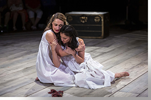 (Left to right) Lianne Marie Dobbs as Halina playing \Manke and Andrea Goss as Chana playing Rivkele