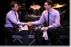 (Left to right) Frankie Valli (Joseph Leo Bwarie) and Bob Gaudio (Josh Franklin) form a lifetime partnership on a handshake.