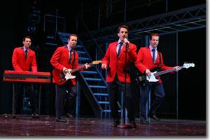 The Four Seasons first big hit was Sherry. (Left to right) Josh Franklin as Bob Gaudio, Erik Bates as Tommy DeVito, Joseph Leo Bwarie as Frankie Valli, and Steve Gouveia as Nick Massi