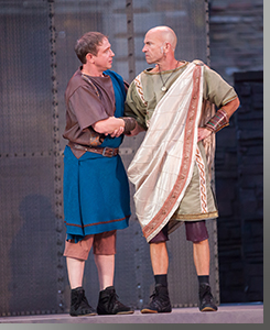 (Left to right) Matthew Schneck as Cassius and Scott Coopwood as Brutus