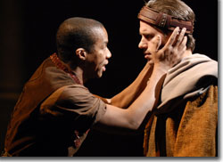 (Left to right) Rodney Hicks as Edmund and Markus Potter as Edgar