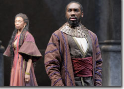 Sharon Washington as Goneril and Robert Jason Jackson as the Duke of Albany
