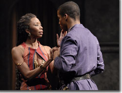 Sharon Washington as Goneril and Rodney Hicks as Edmund