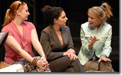 (L to R) Lanie MacEwan as Wallace Breyer, Makela Spielman as Nancy Robin and Kathleen McCall as Linda Billings Farzam
