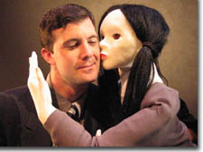 Photo of Josh Robinson with Bunraku-inspired puppet
