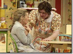 Photo of (L to R) Robynn Rodriguez as Miss Gluck and Kathleen M. Brady as Bodey