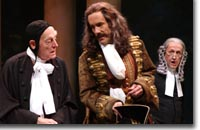 Photo of (L to R) Tony Church as Holofernes, John Hutton as Don Adriano de Armado and Randy Moore as Nathaniel