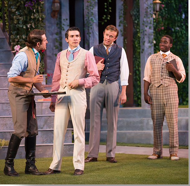 (Left to right) Seth Dhonau as Berowne, Marco Robinson as King Ferdinancd of Navarre, David Derringer as Dumaine, and AJ Voliton as Longeville