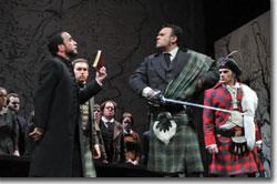 (Foreground - left to right) Richard Bernstein as Raimondo, James Barbato as Normanno, Grant Youngblood as Enrico, and Andrew Owens as Arturo