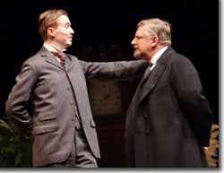 John Heffernan as Stephen Undershaft and Simon Russell Beale as Andrew Undershaft