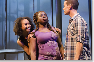 Brynn Tucker as Osha, Tanisha L. Pyron as Shaunta, and Damion Hoover as Marcus