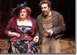 Photo of Kathleen M. Brady as Mistress Overdone and David Ivers as Pompey