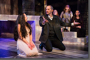 Karen Slack as Medea and Mark Collins as Aegeus