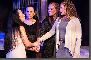 Karen Slack as Medea and Lauren Bahlman, Kelly Uhlenhopp, and Maggy Stacy as Women of Corinth