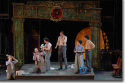 Left to Right: William C. Kovacsik as Robin Starveling, Stephen Weitz as Nick Bottom, Seth Maisel as Snug, Jesse Ryan Harward as Tom Snout, Maria-Christina Oliveras as Petra Quince, and Broderick Ballantyne as Francis Flute